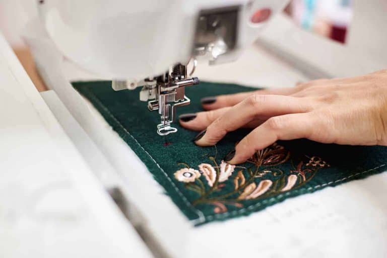 Embroidery on Green Fabric