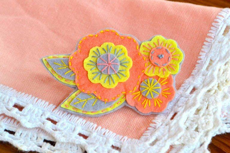 Floral Felt Pattern on a Table Mat