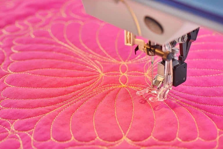 Free Motion Quilting on Pink Fabric