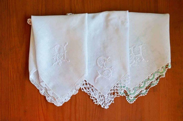 Handmade Embroidery White-on-White Monogram Handkerchiefs by sk