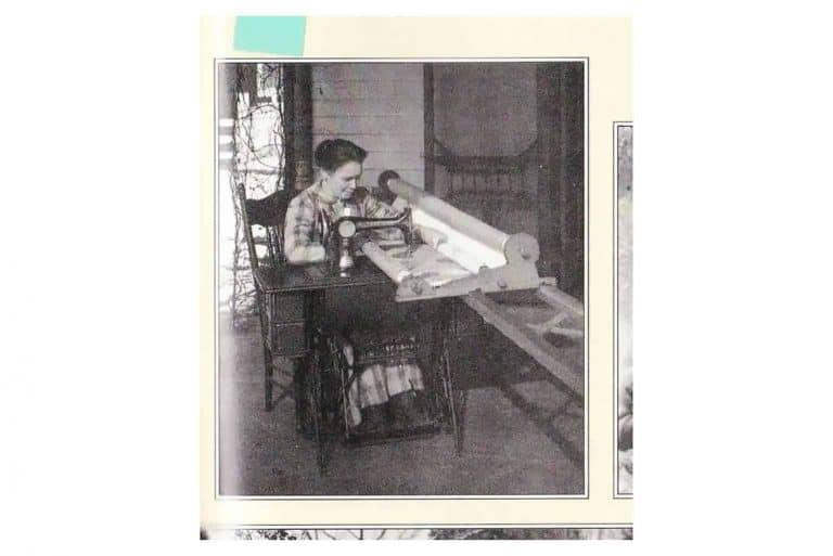 Kentucky Historical Society - Quilting Frame On Treadle Sewing Machine