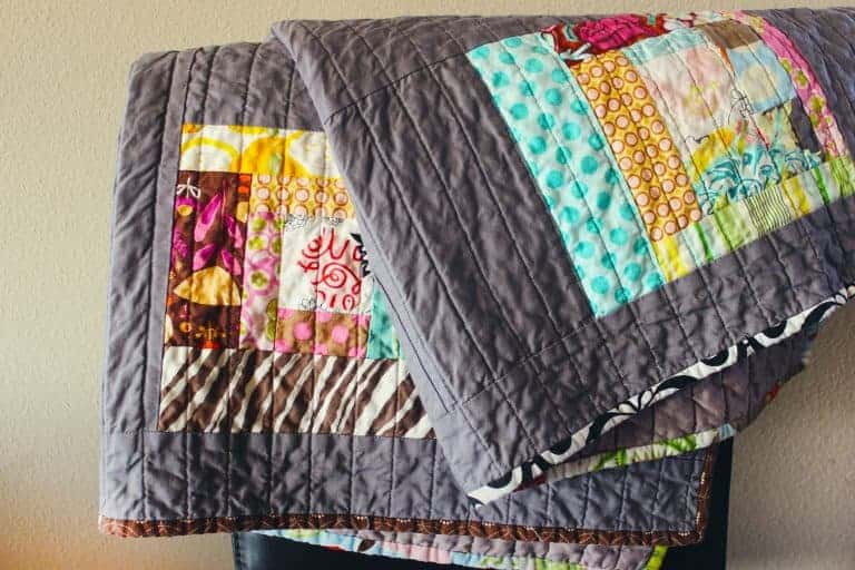 Large Quilted Gray Blanket with Colorful Design