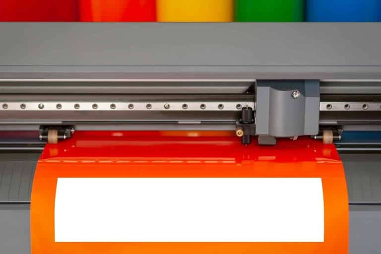 Machine Cutting Orange Vinyl