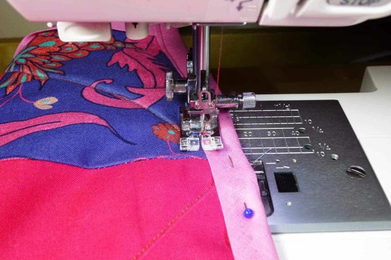 Sewing Pink and Violet Fabric